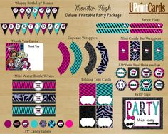 DIY MONSTER HIGH Deluxe Birthday Party - Hobby Lobby has srapbook supplies to match these pintables!