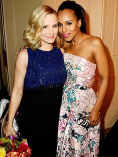 Mom-to-be Kristen Bell and new mama Kerry Washington put their heads together Thursday at the Hollywood Foreign Press Association's Grants Banquet at the Beverly Hilton in Beverly Hills.
