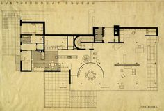 Ludwig Mies van der Rohe ~ Villa Tugendhat ~ Plan first floor ~ Brno, Czech Republic ~ Ludwig Mies Van Der Rohe, Architecture Drawings, Architecture Plan, Residential Architecture, Villa Tugendhat, Modern Mansion, Ground Floor Plan, Building Plans, Moma