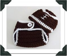 Newborn Crocheted Baby Boy Football Hat by theprimitivefence