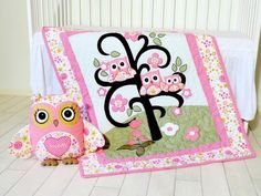 Organic Owl Quilt Baby Owl Girl Crib Bedding by Customquiltsbyeva