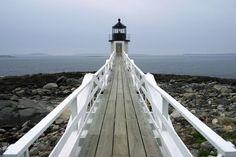 Boardwalk and lighthouse at Acadia National Park., Maine