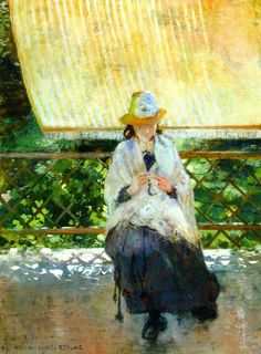 On the Terrace at Sevres, 1886  , by Theo van Rysselberghe