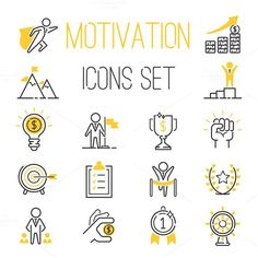 Motivations icons vector set. Business Infographic