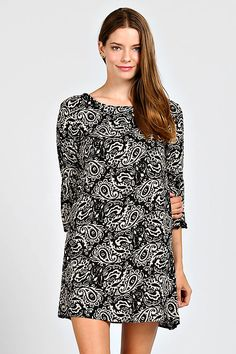 PAISLEY CHIFFON SHIFT DRESS-Black
