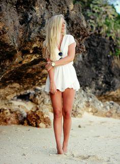 Women fashion clothing style outfit beautiful beach white dress watch sunglasses blond girl amazing summer