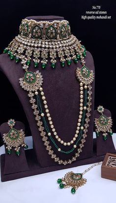 Rs4800+$ Restocked Minibridal set with reverse adstone mehendi plated Bridal Necklace Set, Bridal Bangles, Bridal Jewelry Sets, Bridal Accessories, Bridal Jewellery, Pakistani Bridal Jewelry, Indian Jewelry, Indian Bridal Photos, Rajputi Jewellery