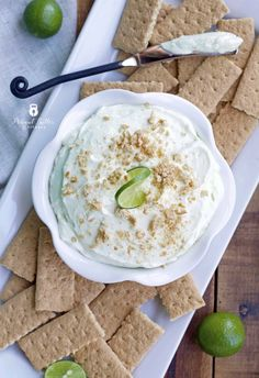 Key Lime Protein Cheesecake Dip - a refreshing, high protein dessert for your next party!  6 grams of protein per serving.