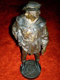 Emile Louis Picault 1833-1915  Bronze Sculpture   Escholier    37cm