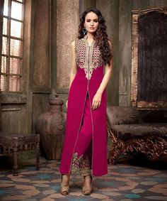 "http://www.istyle99.com/Salwar-Suit/Magenta-Semi-Stitched-Anarkali-Salwar-Kameez-7743.html Magenta Semi Stitched Anarkali Salwar Kameez -Rs 1293 Stitch Type: Semi-stitched Top Colour: Magenta Bottom Colour: Magenta Dupatta Colour: Magenta Kameez Fabric: Georgette Bottom Fabric: Santoon Dupatta Fabric: Chiffon CUSTOMIZED UP TO: 42"" Bottom in Mtr: 2 Mtr Dupatta in Mtr: 2.25 Mtr Care Type: Dry Cleanr Work Type: Embroidery"