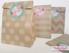 12 x Hen Night Party Vintage Kraft Paper Goodie Bags with personalised stickers - Loot Party Favours