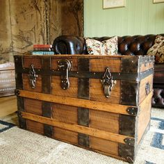 VINTAGE STEAMER TRUNK pine chest VICTORIAN TRAVEL TRUNK storage box COFFEE TABLE in Home, Furniture & DIY, Furniture, Trunks & Chests | eBay