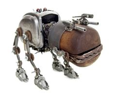 Belgian artist Stephane Halleux is the creator of a remarkable collection of Steampunkish characters, engines and vehicles. He uses leather, metal, wood pulp and recycled materials to create these sculptures.
