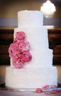 Shabby Chic peony wedding cake