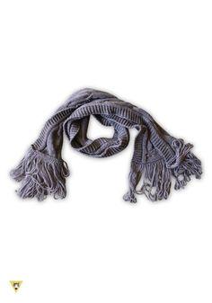 sciarpa in lana mohair con frange anni 60, tortora