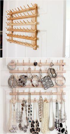 Upcycled Thread Rack into Jewelry Organizer - 100 DIY Jewelry Organizers & Storage Ideas – Full Tutorials