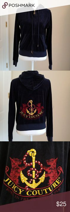 Juicy Couture Velour Hoodie Juicy Couture Velour Hoodie. Size XL. In excellent condition. Color is a dark blue. It zips up and has really cute keys on the zipper. On the back of the hoodie it has the anchor and says Juicy Couture Born in the Glamorous USA. Has Rhinestones in the anchor. Any questions please ask. Juicy Couture Tops Sweatshirts & Hoodies