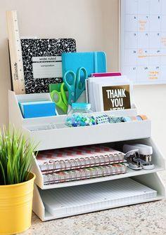 Office Organization Rack - Desk Organization - Home Office Decor - Office Decor Home Office Organization, Organization Hacks, Office Decor, Organizing Clutter, Office Storage, Organising, Desk Office, Stationary Organization, Desk Storage