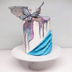 My butterfly cake - Cake by Larissa Ubartas Sweet Cakes, Cute Cakes, Pretty Cakes, Beautiful Cakes, Amazing Cakes, Fondant Cakes, Cupcake Cakes, Fondant Butterfly, Extreme Cakes