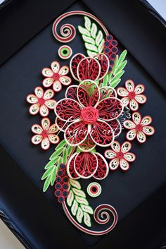 Ayani art: Quilling in Red, Cream and Green