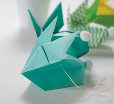 Osterhasen Origami selber falten Ideen grün