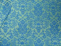 4 Panels Vtg Mid Century Brocade Damask Blue Green Pinch Pleat Curtain Drapes