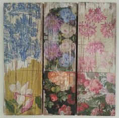 Decoupage on weathered wooden pallet Wooden Spool Projects, Diy Craft Projects, Craft Ideas, Pallet Interior Ideas, Pallet Ideas, Paper Serviettes, Pallet Floors, Wood Transfer, Hippy Room