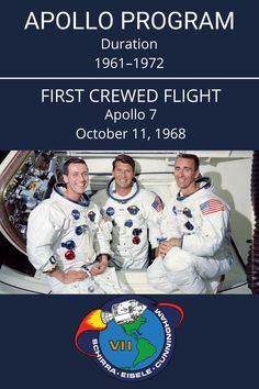 Apollo 7 was an October 1968 space mission carried out by NASA. It was the first crewed flight in NASA's Apollo program. #Apollo7 #NASA #ApolloProgram Apollo Program, Apollo Missions, Air Space, Space Program, Astronauts, Space Shuttle, Space Exploration, Science And Nature, Nasa