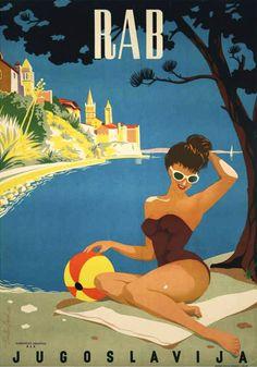 Original Vintage Poster 1950 - Rab, Croatia,  Yugoslavia /  Ancienne affiche publicitaire, vieille publicité originale : île de Rab, Croatie, Yougoslavie