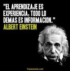 """... """"El aprendizaje es experiencia, todo lo demás es información"""". Albert Einstein."""