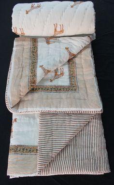 Hand Block Print Quilt Reversible Queen Size Kantha Quilts Winter Jaipuri Rajai #KhushiHandicraft #ArtsCraftsMissionStyle