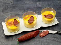 Crèmes brûlées safranées et chorizo tout juste grillé. Photo : C. Herlédan. Découvrez la recette sur https://www.facebook.com/LesProduitsLaitiers/photos/a.739985192708972.1073741837.136045459769618/739985289375629/?type=3&theater  #entree #starter #appetizers #snack #miam #cuisine #gourmandise #gastronomie #produitslaitiers #dairy #gastronomy #lait #milk #delicious #foodporn #recette #recipe #food