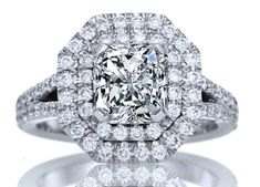 Double Halo Radiant Diamond Engagement Ring