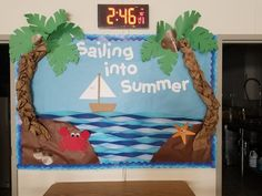 Summer Bulletin Board ideas to feed the sunny side of life - Ethinify - JULİANE Beach Bulletin Boards, Toddler Bulletin Boards, Classroom Board, Classroom Bulletin Boards, Classroom Crafts, Toddler Classroom, Sailing Bulletin Board, Bulletin Board Tree, Board Decoration