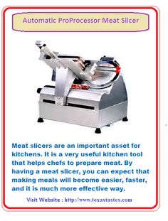 Shop our commercial meat slicer collection to find the right one for your home kitchen and restaurants. We also have all types of new meat, food and cheese slicers as well as kitchen equipments.