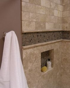 Accent Tiled Niche - traditional - bathroom - portland - Abode Design (niche, border)