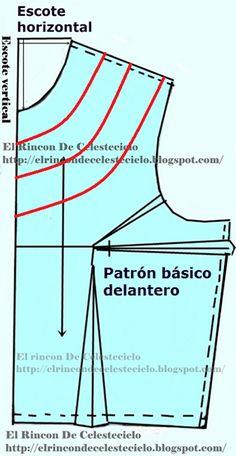 Trazando escote redondo en patrón delantero