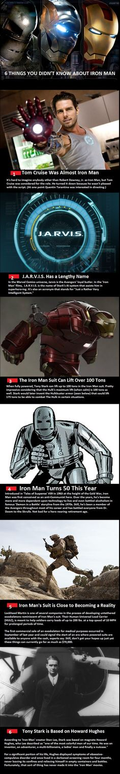 6 Things You Didn't Know About Iron Man. WOOOOOOT! And now you know. P.S. I am SOOOOOO glad Tom Cruise wasn't Iron Man. Only RDJ can fill that suit! Just saying. #ironman #tonystark #fandom
