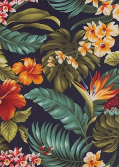 20moha Bird of Paradise, hibiscus, ginger with orchid flowers, cotton vintage Hawaiian apparel fabric. by Barkcloth Hawaii Fabrics