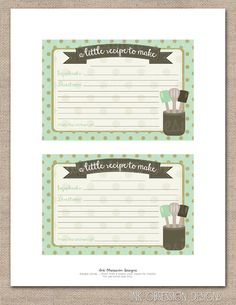 Dots and Mint Printable Recipe Cards