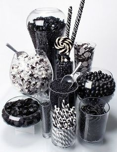 Sweet bar with only black sweets - cool!  (add monogrammed #candy. #diy $7.00 #printables. www.customweddingprintables.com)