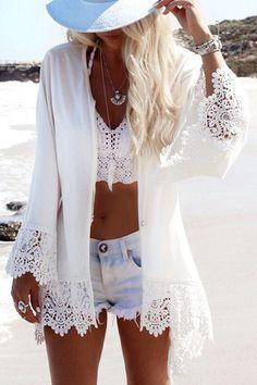 2018 Beach Chiffon cover up skirt blouse bathing sexy top slim Loose white Lace beach dress Cardigan tunic pareo saida de praia All White Outfit, White Outfits, Lace Outfit, Kimono Outfit, Bikini Cover Up, Swimsuit Cover, Bikini Top, Sexy Bikini, Swim Cover