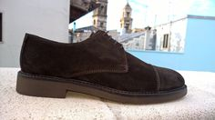 Cap Toe Derby Shoes - Brown Suede