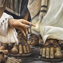 The mural fills an entire wall of the Encounter Chapel, which is built on the first-century stone floor of the marketplace at Magdala by the Sea of Galilee. In it, sandals crowd the floor and linen robes brush against the legs and ankles of the men who throng around Jesus. He is a man on …