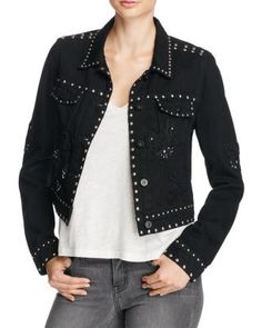PAIGE Vivienne Embellished Cropped Denim Jacket | Bloomingdale's