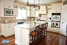 I could have this layout pretty easily.  If I moved my fridge I could put in a corner pantry.  I would need to switch out my current cabinets next to the dishwasher and use similar to this.  I definitely have the room to extend it.  I also have room to fit this island.  Saving my pennies.
