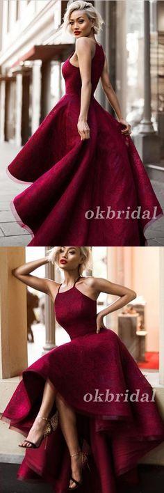 High-Low Prom Dress, Lace Prom Dress, Halter Prom Dress, Sleeveless Prom Dress, Red Prom Dress, LB0878 #okbridal #promdress