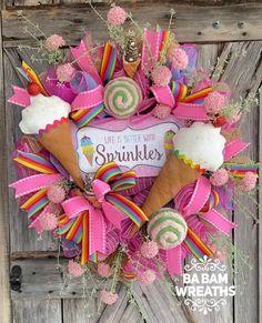 Summer Wreath, 4th Of July Wreath, Ice Cream Decorations, Seasonal Decor, Holiday Decor, Wreath Making Supplies, Creative Box, Tulle Wreath, Trendy Tree
