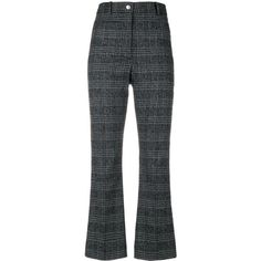 Wood Wood plaid cropped trousers (2.609.555 IDR) ❤ liked on Polyvore featuring pants, capris, grey, gray plaid pants, grey pants, wood wood, tartan trousers and plaid pants