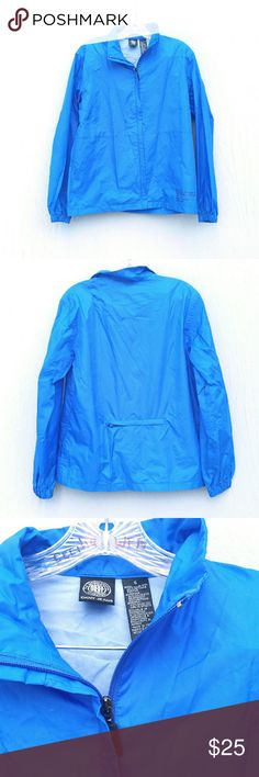 """Blue windbreaker small No flaws or stains. Two front pockets and one back pocket. Water resistant not water proof. Front zipper. No hood.  Sleeve length : 25"""" Shoulder to shoulder : 18"""" Length : 25"""" Tag size : Small DKNY Jackets & Coats"""